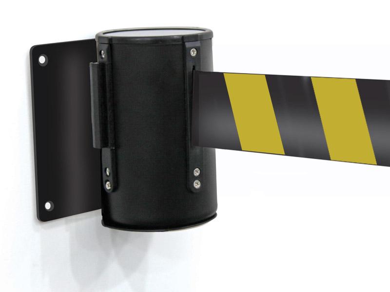 Black-yellow-wall-mounted-belt-barrier_1